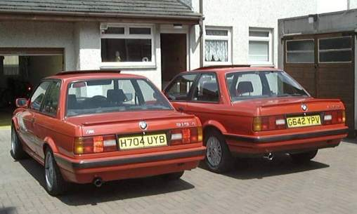 red BMW E30 318iS